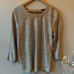 Ann Taylor Metallic Gold Textured Blouse L